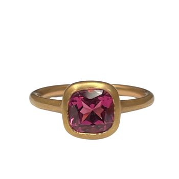 18k Rose Gold Solitaire Tourmaline Ring