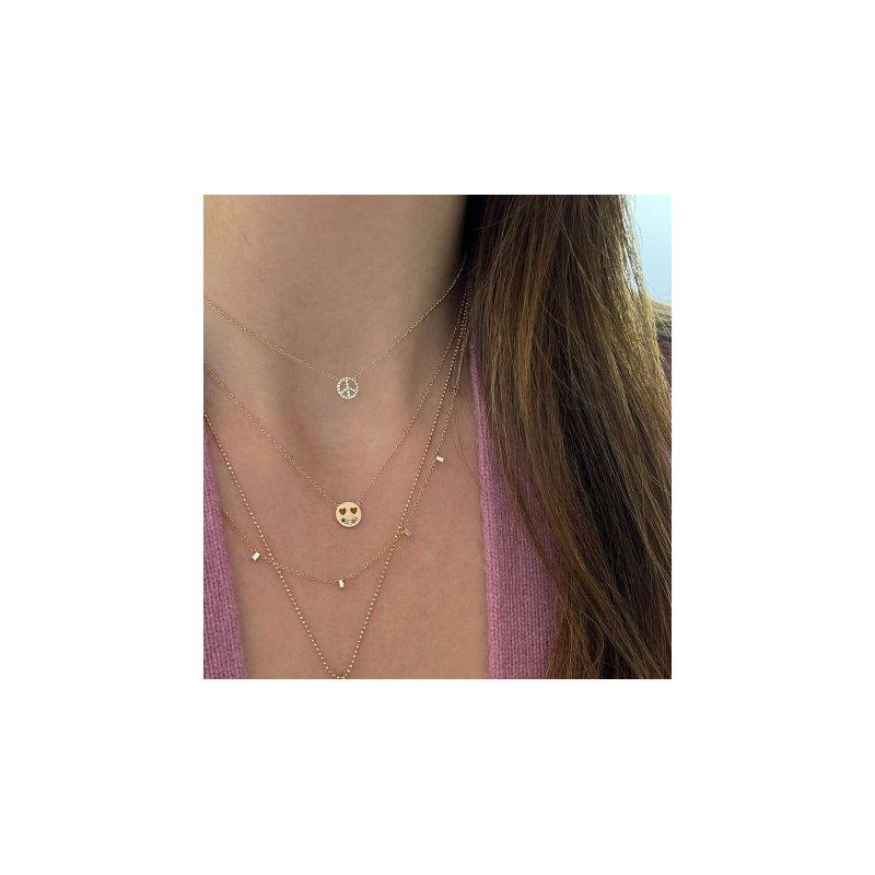 EF Collection Mini Diamond Peace Necklace