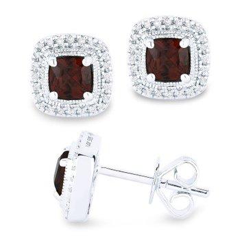 Garnet & Diamond Halo Stud Earrings
