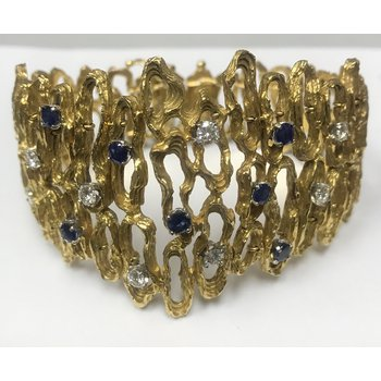 Wide Gold Free Form Sapphire/Diamond Bracelet