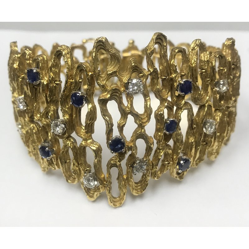 Antique, Estate & Consignment Wide Gold Free Form Sapphire/Diamond Bracelet