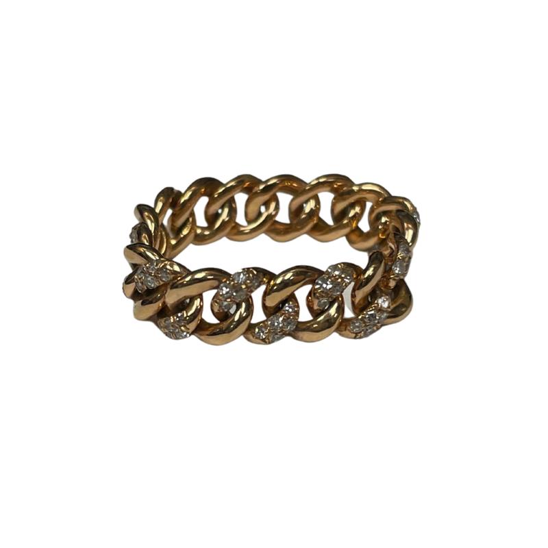 Shay Alternating Diamond Chain Link Ring
