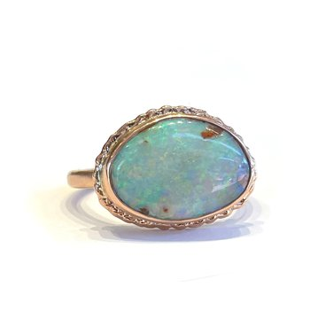 Opalized Wood Ring - 14k Rose Gold