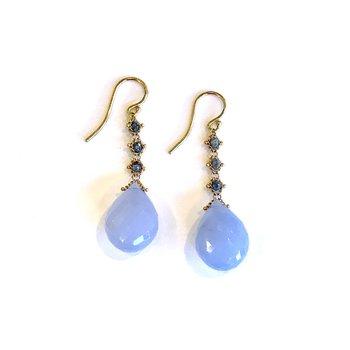 Blue Chalcedony & Gray Diamond Earrings