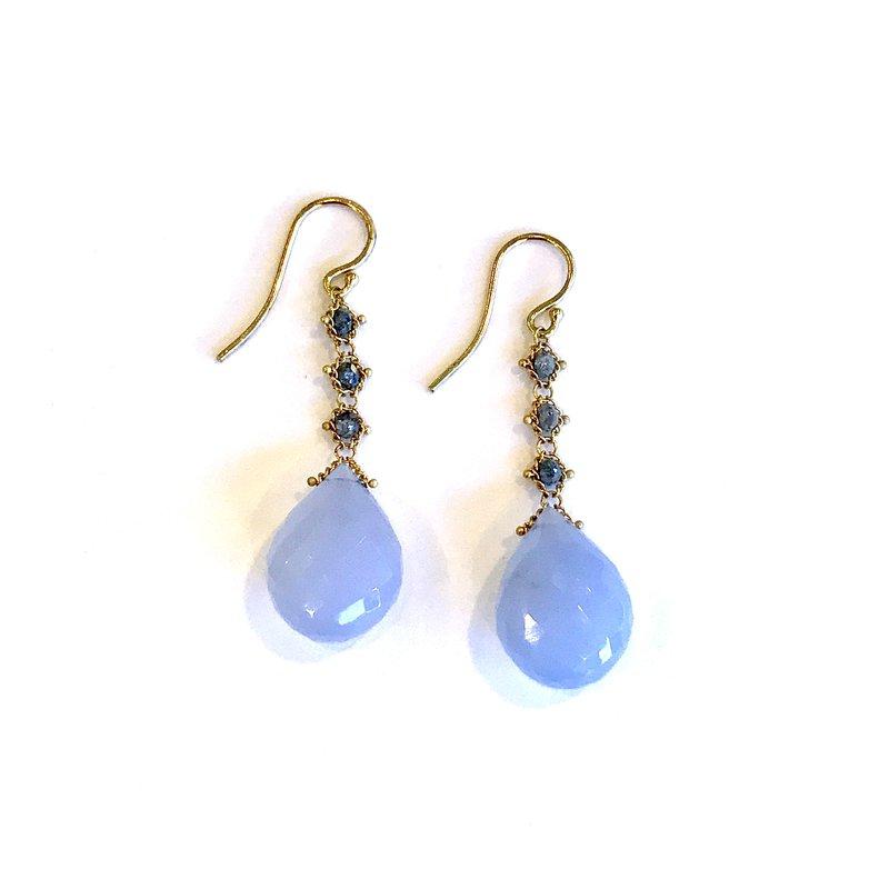 Amali Blue Chalcedony & Gray Diamond Earrings
