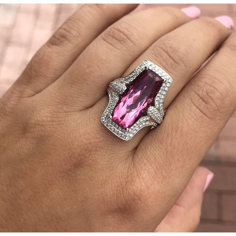 Spark Creations One of a Kind Pink Tourmaline & Diamond Ring