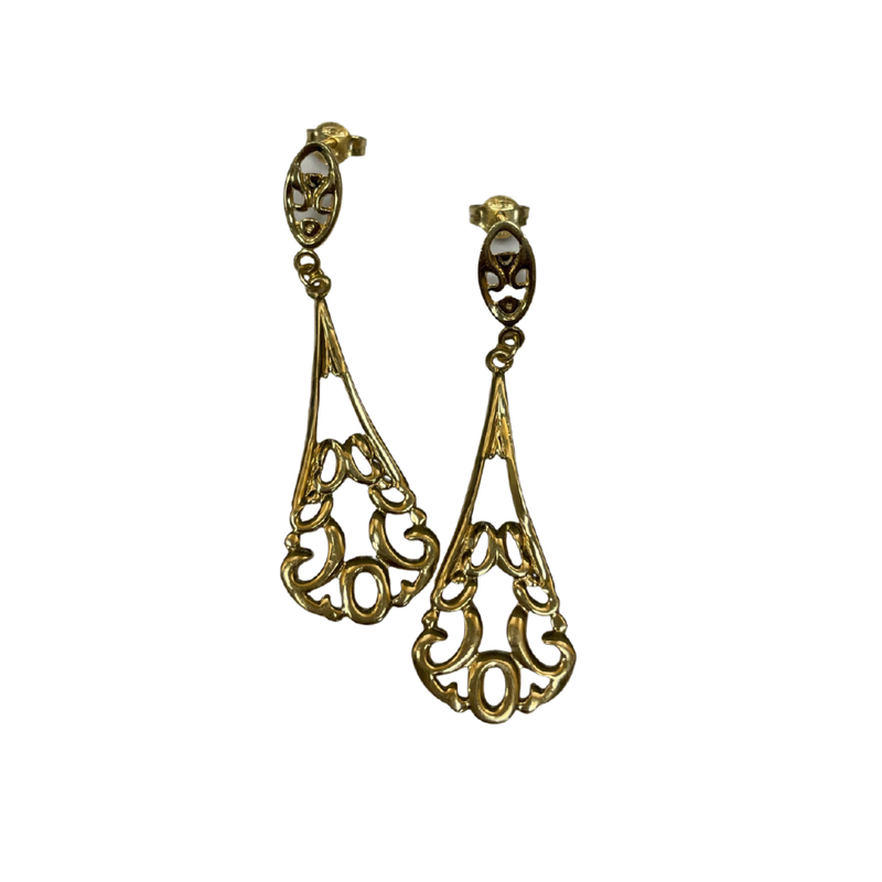 Antique, Estate & Consignment 14k Swirl Drop Earrings