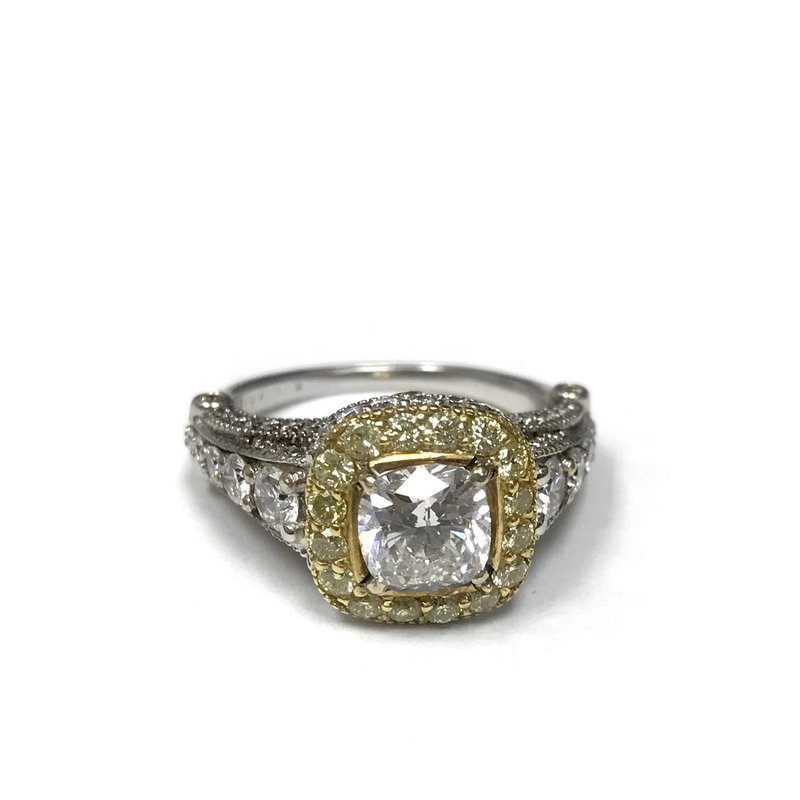 Antique, Estate & Consignment Yellow Diamond Halo Engagement Ring