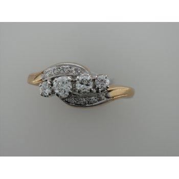 Two Tone Diamond Swirl Ring