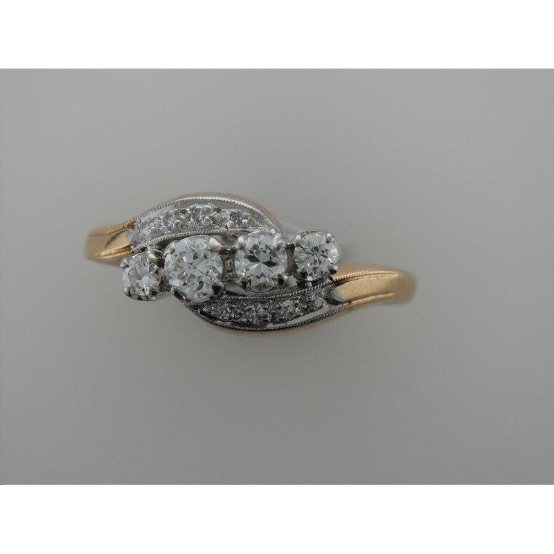 Antique, Estate & Consignment Two Tone Diamond Swirl Ring