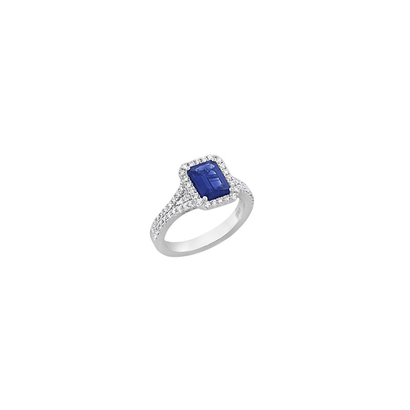 Spark Creations Emerald Cut Sapphire & Diamond Ring