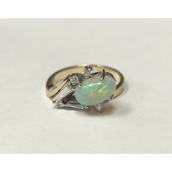 Contemporary Opal & Diamond Ring