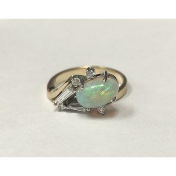 Contemporary Opal & Diamond Ring