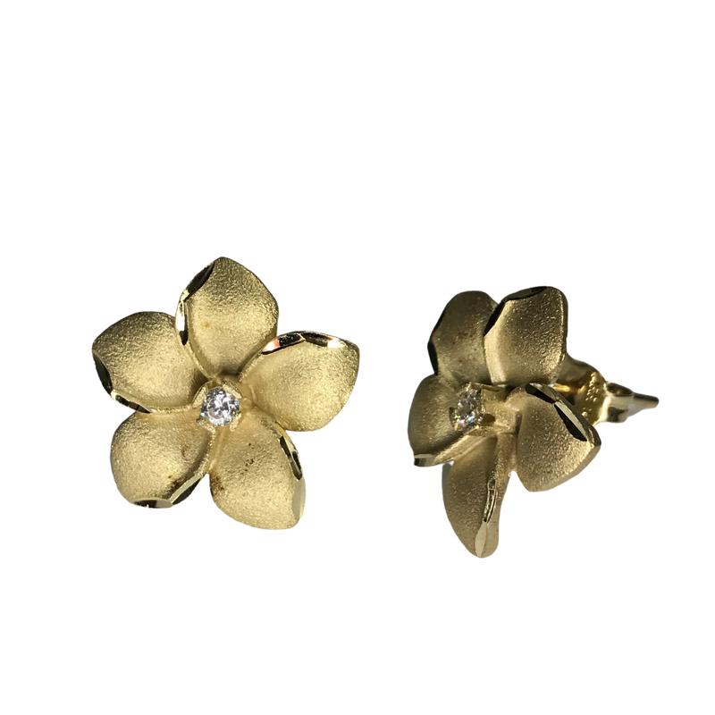 Antique, Estate & Consignment 14k Diamond Plumeria Earrings