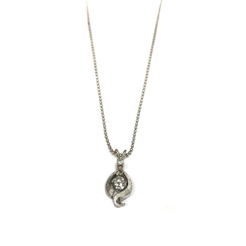 Antique, Estate & Consignment 14k Diamond Swirl Pendant & Silver Bead Chain