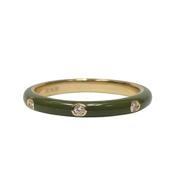 3 Diamond Olive Enamel Stack Ring