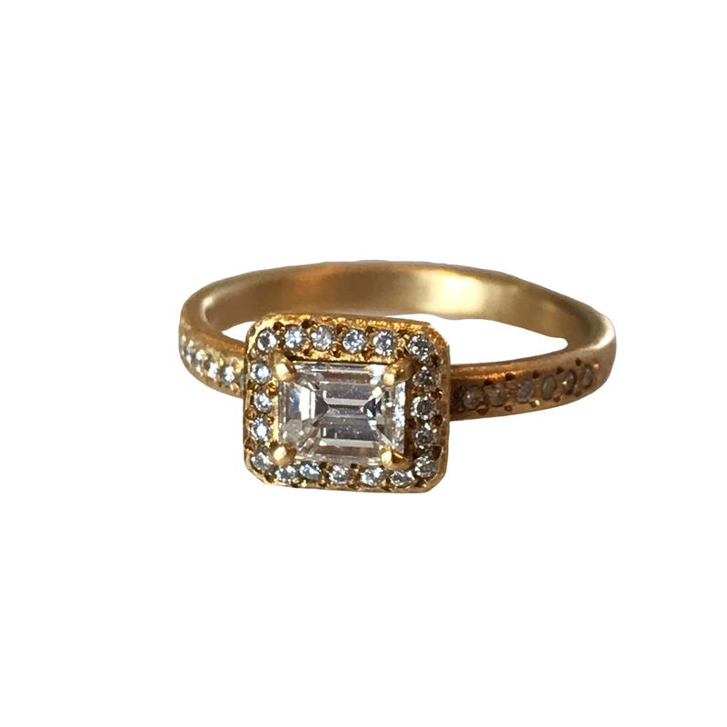 Yasuko Azuma Jewelry Emerald Cut Diamond Engagement Ring