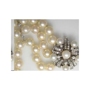 Pearl Bracelet with Diamond Clasp