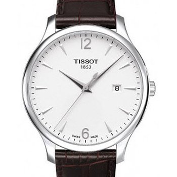 Tradition Silver Dial Brown Leather Strap