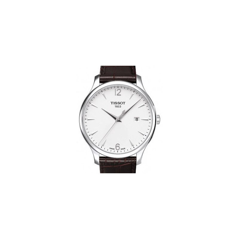 Tissot Tradition Silver Dial Brown Leather Strap