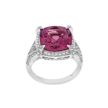 Pink Zircon & Diamond Ring