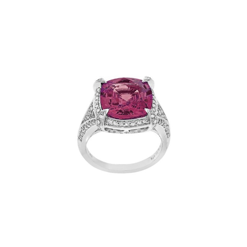 Spark Creations Pink Zircon & Diamond Ring