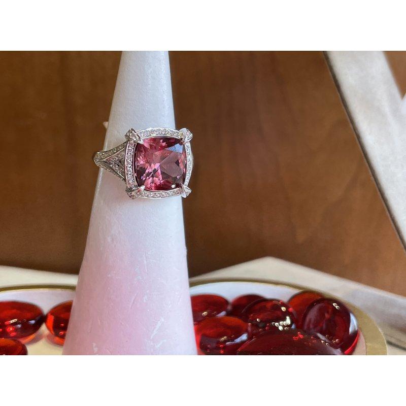 Spark Creations Pink Zircon & Diamond Ring