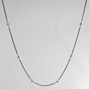 Oxidized Sterling Silver Chrysoprase Station Necklace
