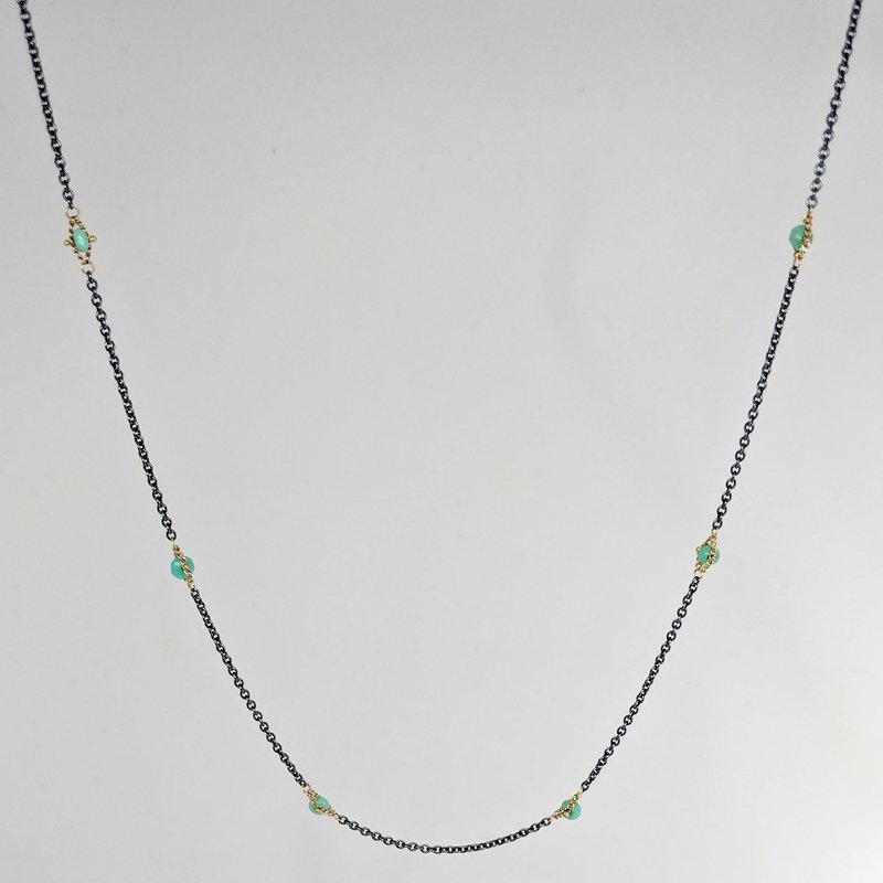 Amali Oxidized Sterling Silver Chrysoprase Station Necklace