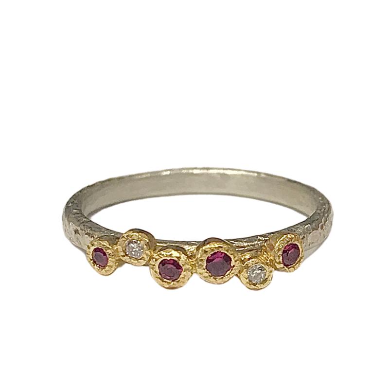 Yasuko Azuma Jewelry Ruby & Diamond Sterling Silver Ring