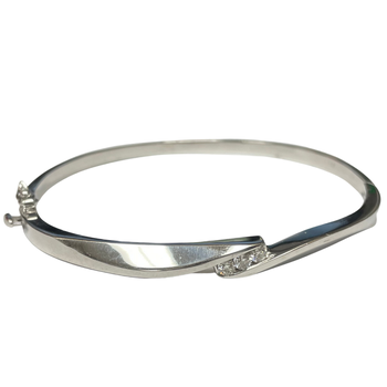 Diamond & White Gold Bangle