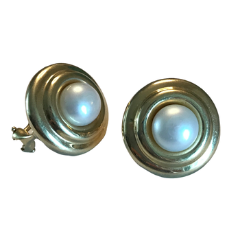 14k Button Pearl Earrings