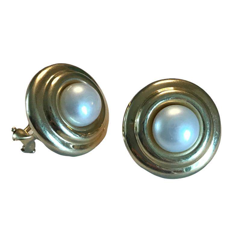 Antique, Estate & Consignment 14k Button Pearl Earrings