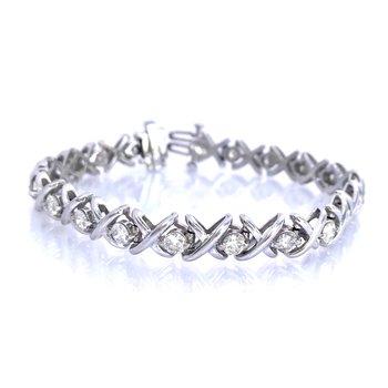 Diamond X's & O's Tennis Bracelet