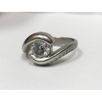 Bypass Swirl Diamond Engagement Ring