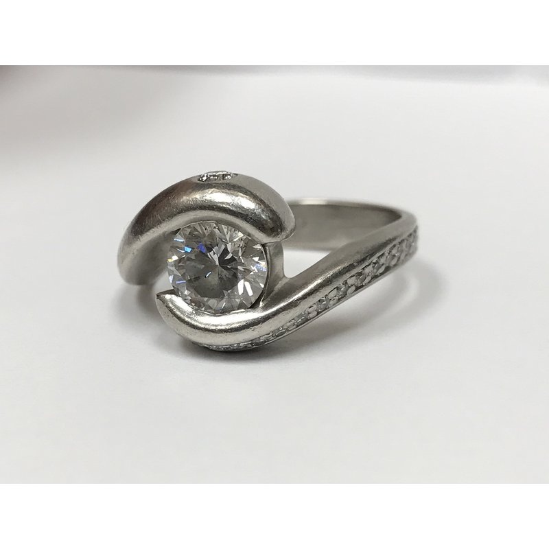 Antique, Estate & Consignment Bypass Swirl Diamond Engagement Ring