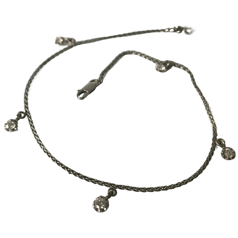 Antique, Estate & Consignment Platinum Diamond Station Anklet/Bracelet