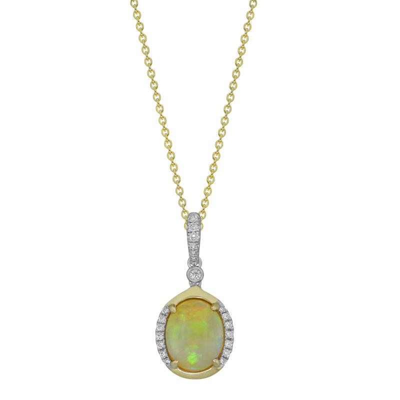 Spark Creations Two Tone Opal & Diamond Earrings