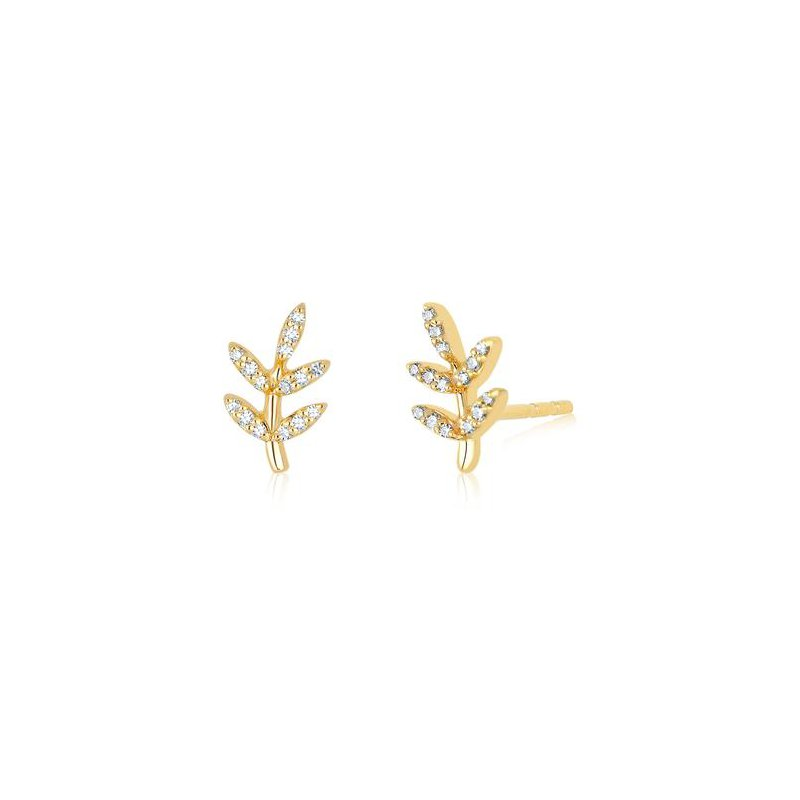 EF Collection Diamond Leaf Stud Earring