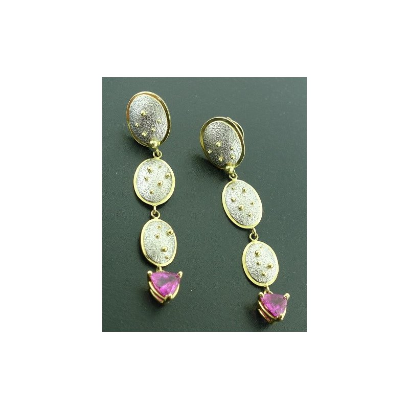 Richard Kimball Pink Sapphire Drop Earrings