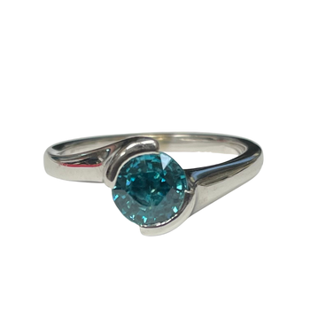 Blue Zircon Bypass Style Ring
