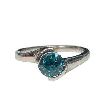 Blue Zircon Bypass Style Ring