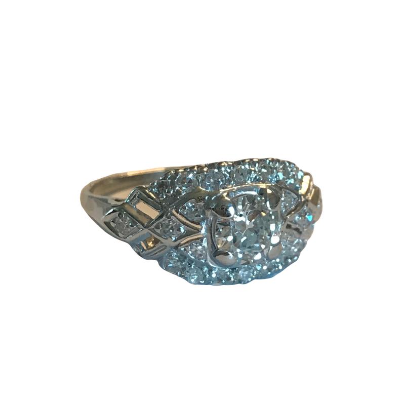 Antique, Estate & Consignment Platinum Vintage European Cut Diamond Engagement Ring