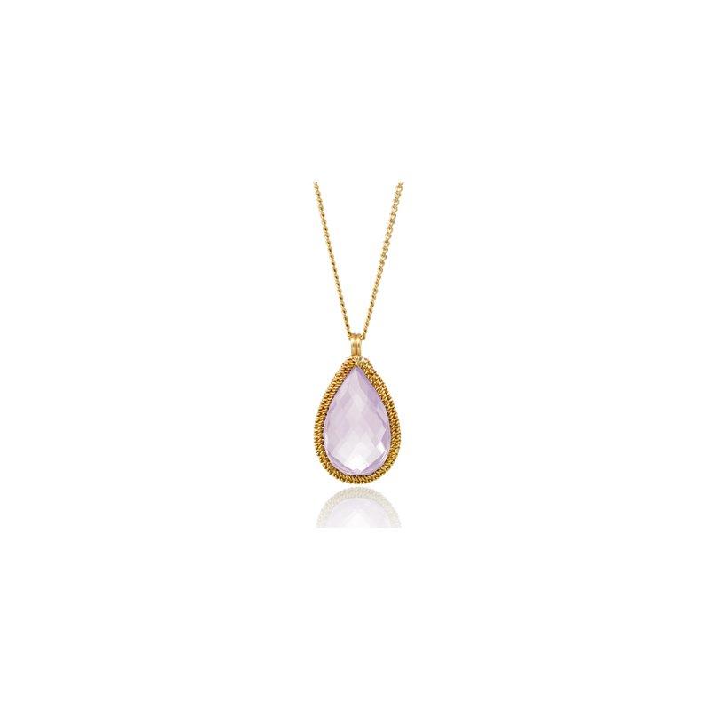 Amali Lilac Quartz Candy Drop Necklace