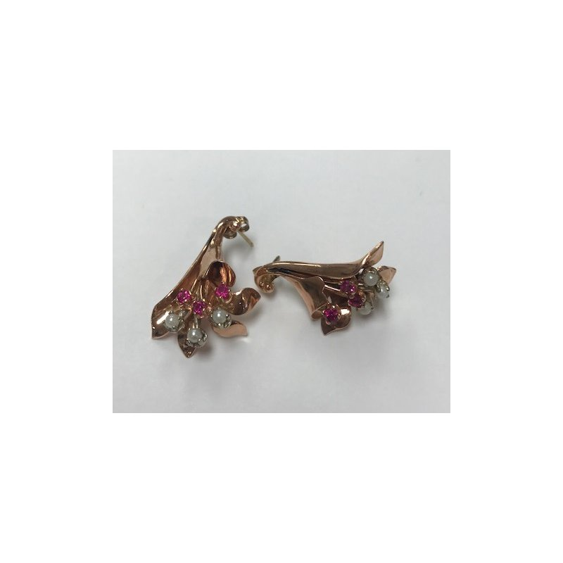 Antique, Estate & Consignment Vintage Ruby & Diamond Fan Earrings