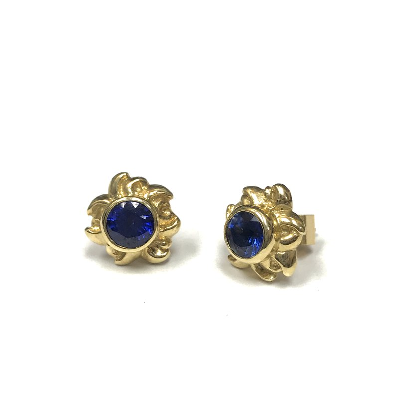 Antique, Estate & Consignment Free Form Sapphire Stud Earrings