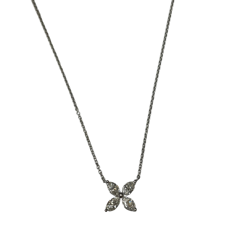 Hurdle's Jewelry Collection Marquise Diamond Flower Necklace