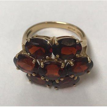 Floral Garnet Cluster Ring