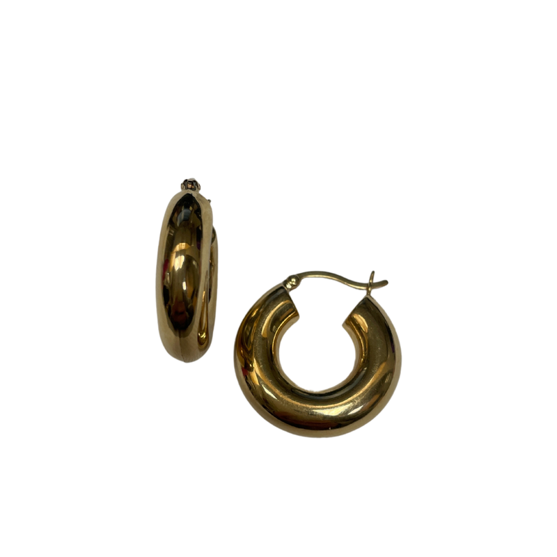 Antique, Estate & Consignment Wide Gold Hoop Earrings