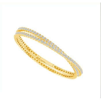 Gold Double Wrap Diamond Tennis Bracelet
